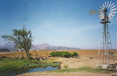 Farm and waterhole near Huab River